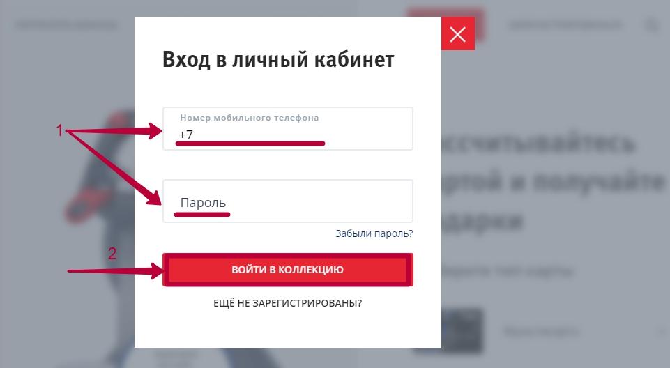 """Вход в личный кабинет программы ВТБ """"Коллекция"""""""
