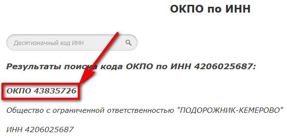 Как узнать ОКПО организации по ИНН бесплатно в интернете