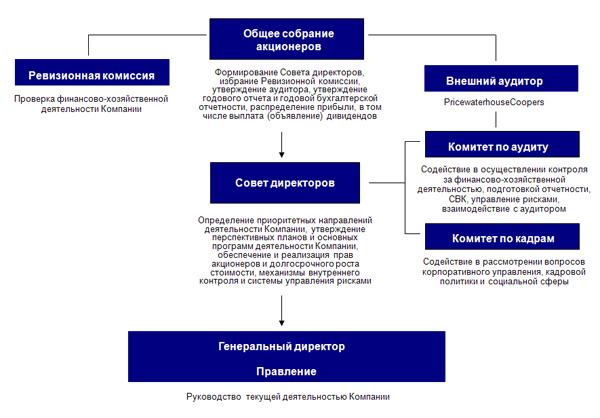 Примерная управленческая структура ПАО