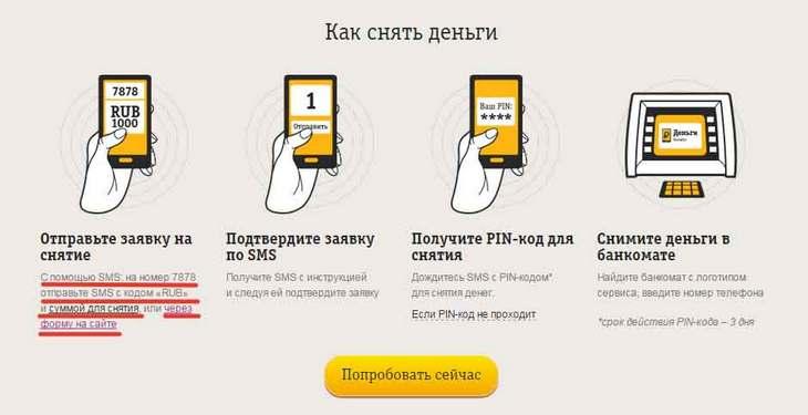 Снять деньги с Билайна через СМС